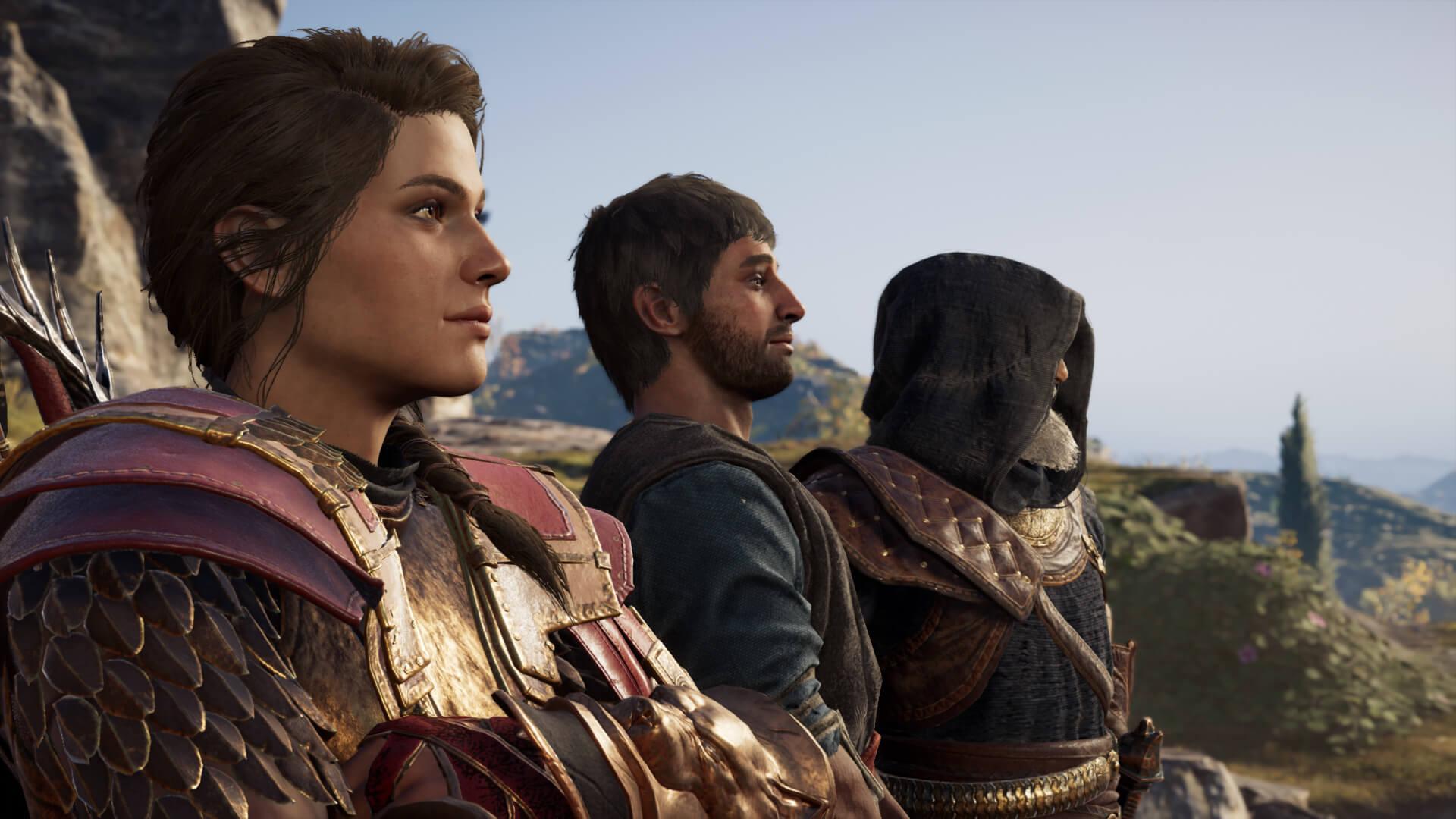 Kassandra, Natakas y Darío en Assassin's Creed Odyssey