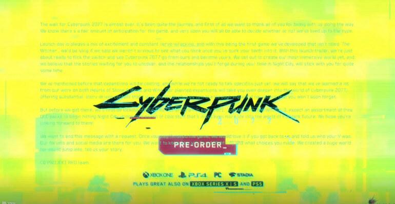 Tráiler de lanzamiento de Cyberpunk 2077 aloja un mensaje oculto de los desarrolladores