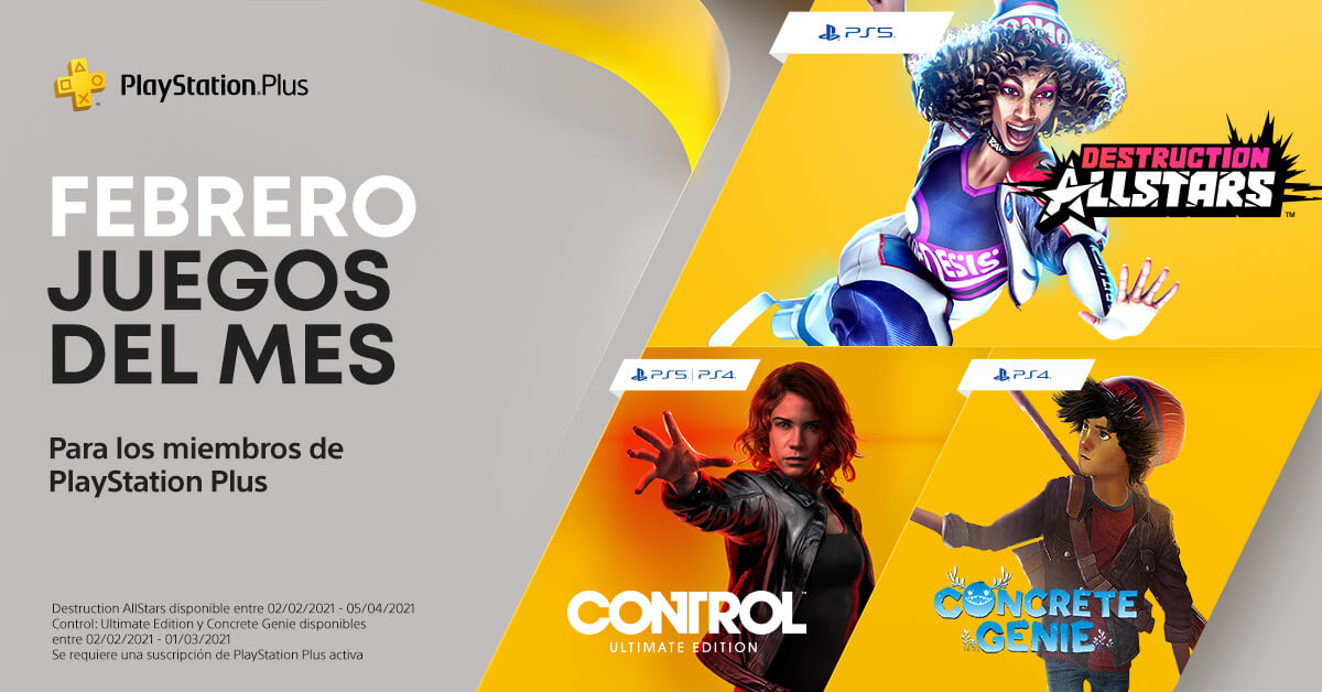 Destruction AllStars y Control encabezan los juegos gratuitos de PS Plus de Febrero