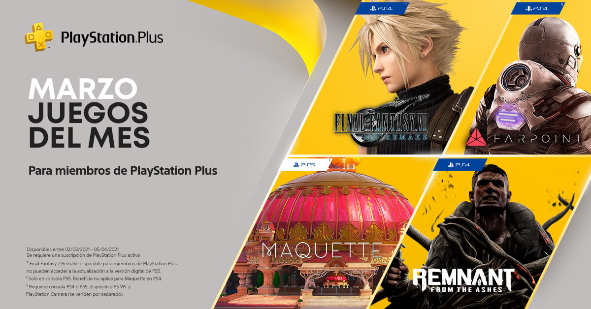 Final Fantasy VII Remake encabeza los juegos gratuitos de PS Plus de marzo