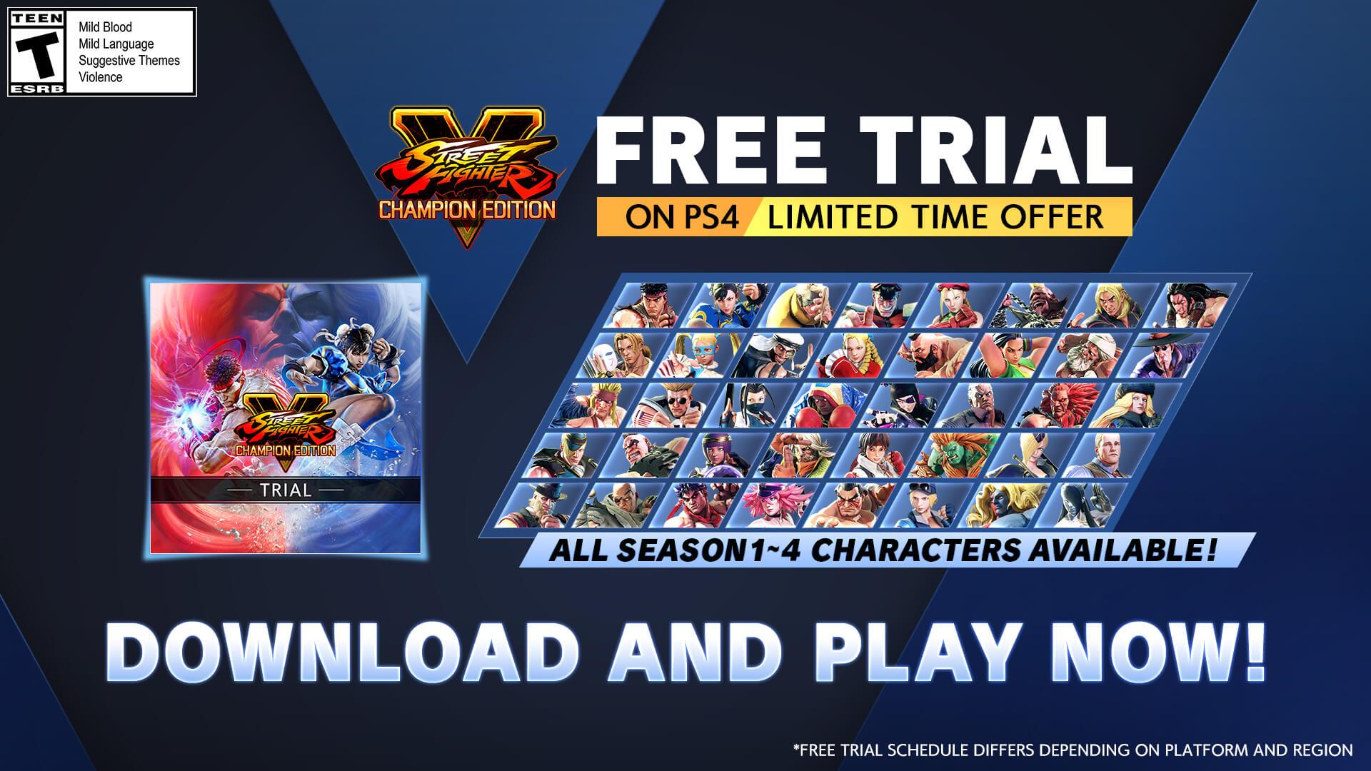 Prueba gratuita de Street Fighter V con todos los personajes ya está disponible en PS4